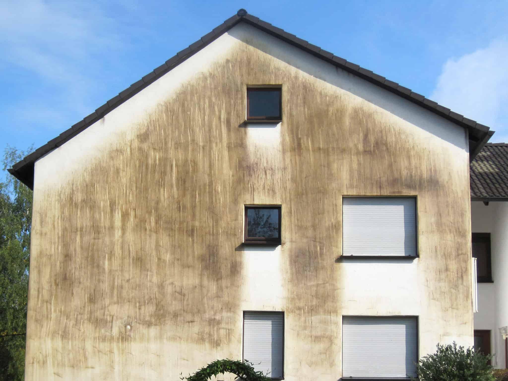 stark verschmutze Hausfassade mit Rotalgen und Schimmel